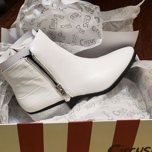 White Booties with Heel Spikes
